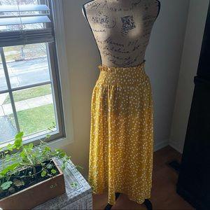 Mustard Polka Dot Skirt High-Waist Skirt - Small
